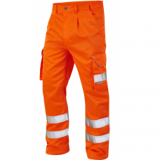 Leo Class 1 Poly/Cotton Cargo Work Trouser Orange (RIS-3279-TOM) 3 Leg Lengths