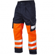 Leo Class 1 Poly/Cotton Cargo Work Trouser Orange and Navy 3 Leg Lengths