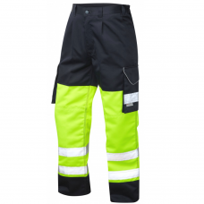 Leo Class 1 Poly/Cotton Cargo Work Trouser Yellow and Navy 3 Leg Lengths