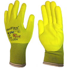 ATG Hi Vis Yellow Maxiflex Ultimate Lightweight Palm Coated Nitrile Gloves