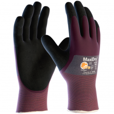 MaxiDry Knuckle Coated Oil Resistant Double Layer Nitrile Glove