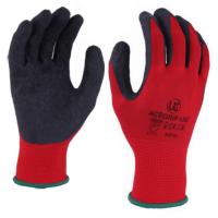 Black Rubber Palm Coated Grip on Red Nylon Liner Work Gloves Acegrip Lite