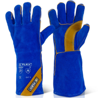 """B-Flex Blue & Gold Fully Lined 350 degrees Flame Retardant Type A Welders 16"""" Gauntlet"""