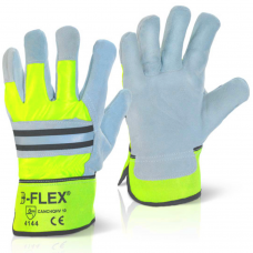 High Visibility Yellow and Grey Fleece Lined Rigger Work Gloves