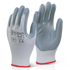 Foamed Nitrile Palm Coated Eco Click 2000 Grey on White Polyester Work Glove