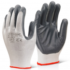 Nitrile Palm Coated Eco Click 2000 Grey on White Polyester Work Glove
