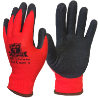 GripLite Lightweight Red Nylon Liner Black Rubber Palm Coating Work Gloves