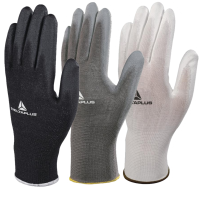 Delta Plus Polyester Knitted PU Palm Coated  Work Gloves 3 Colours Available
