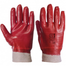 Fully Coated Red PVC Dipped with Knit Wrist Mediumweight Gloves.