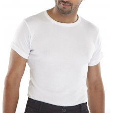 Click Polyester Short Sleeved Thermal Vest- White and Blue
