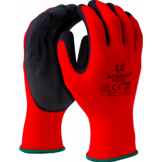Spongy Foam Latex Palm Coated on Red Nylon Liner Work Gloves Acegrip Foam