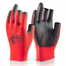 Semi Fingerless Traffic Light Red Poly Liner with Black PU Palm Work Gloves Click 2000