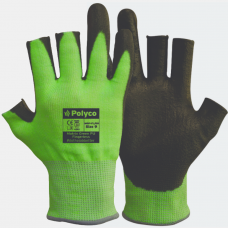 Polyco Matrix Green PU Fingerless Traffic Light Green Cut 5 Safety Gloves 4543