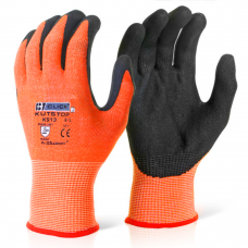 KutStop Traffic Light Orange Nitrile Foam Palm Coated Cut Level 3 Safety Gloves