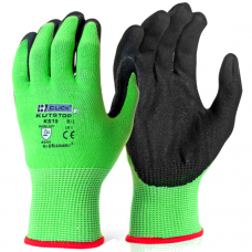 Click Kutstop Traffic Light Green Cut 5 Foam Nitrile Safety Gloves 4544