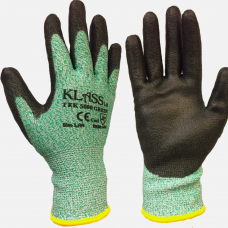 Green Cut Level 5 PU Palm Coating on HPPE Liner Klass Tek Safety Gloves 4543