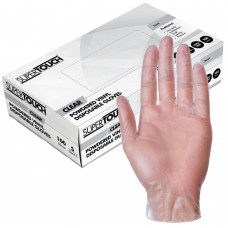 ST Vinyl Powdered Disposable Gloves Clear x 100 hands