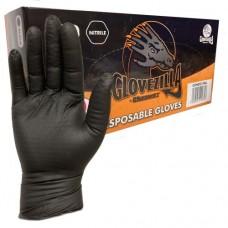 Nitrile Disposable Gripper Glove- Powder Free- Black x 100 hands