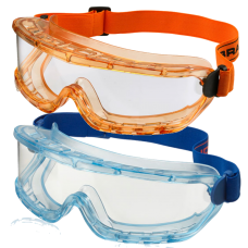 Clear Premium Anti-Scratch Safety Goggles Amber or Blue Frame.