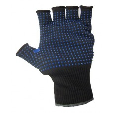 Blue PVC Grip Polka Dot Fingerless Black Precision Work Gloves