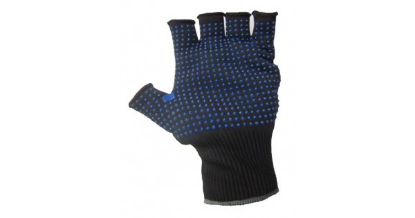 Blue Pvc Grip Polka Dot Fingerless Black Precision Work
