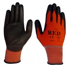 Traffic Light Red Coloured Nylon with PU Palm Coating