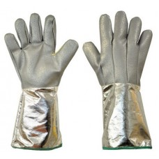 Extreme Heat 500°C Coated Glass Fabric with Kevlar Foundry Gloves 40cm