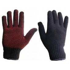 Blue Mixed Fibre with Red PVC Polka Dot Grip Palm Glove
