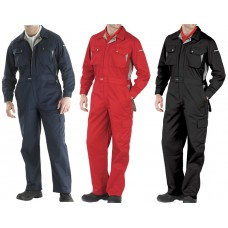 Premium Quality Ventilated Click Boilersuit with Knee Pad Pockets Navy Red or Black