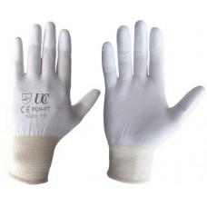 Delicate Work PU Finger Tip Coating on a White Nylon Inspection Gloves