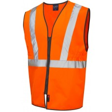 Railway High Visibility Zip Up Pull Apart Studs Waistcoat GO/RT Class 2