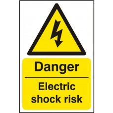 Danger Electric Shock Risk Adhesive Vinyl 20x30cm Safety Sign