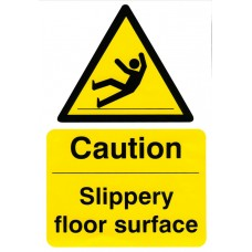 Caution Slippery Floor Surface Adhesive Vinyl 20x30cm Safety Sign