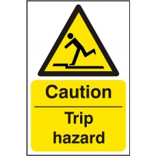 Caution Trip hazard Adhesive Vinyl 20x30cm Safety Sign