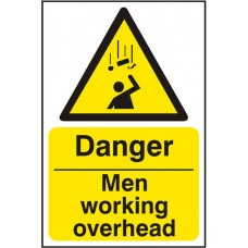 Danger Men Working Overhead 20x30cm Safety Sign Rigid PVC