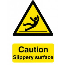 Caution Slippery Surface Adhesive PVC 20x30cm Safety Sign