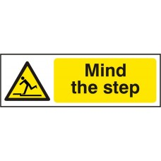 Mind The Step Adhesive Vinyl 30x10cm Safety Sign