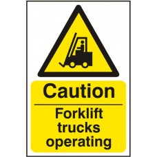 Caution Forklift Trucks Operating (Rigid PVC) 20x30cm Safety Sign
