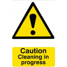 Cleaning In Progress Rigid PVC  20x30cm Safety Sign