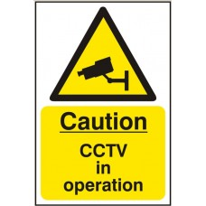 Caution CCTV in operation Self adhesive vinyl 20 x 30cm Safety Sign