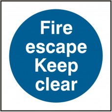 Fire Escape Keep Clear 10 x 10cm Safety Sign