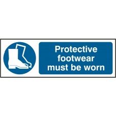 Protective footwear must be worn (Rigid PVC ) 30x10cm Safety Sign