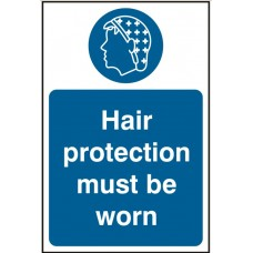 Hair protection must be worn Self adhesive vinyl 20 x 30cmSafety Sign
