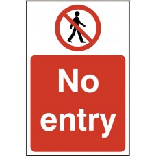 No entry Self adhesive vinyl 20 x 30cm Safety Sign