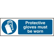 Protective gloves must be worn 30 x 10cm Safety Sign Rigid PVC