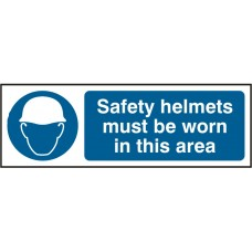 Safety helmets must be worn 30 x 10cm Safety Sign Rigid PVC