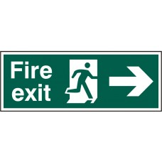 Fire exit (Man arrow right) 40 x 15cm Safety Sign Rigid PVC