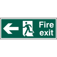 Fire exit (Man arrow left) Rigid PVC 40 x 15cm Safety Sign