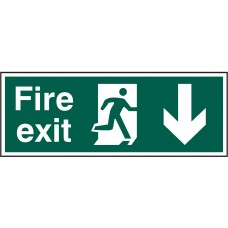 Fire exit (Man arrow down) Rigid PVC 40 x 15cm Safety Sign