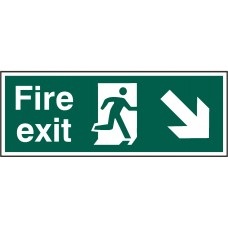 Fire exit (Man arrow down/right) Rigid PVC 40 x 15cm Safety Sign